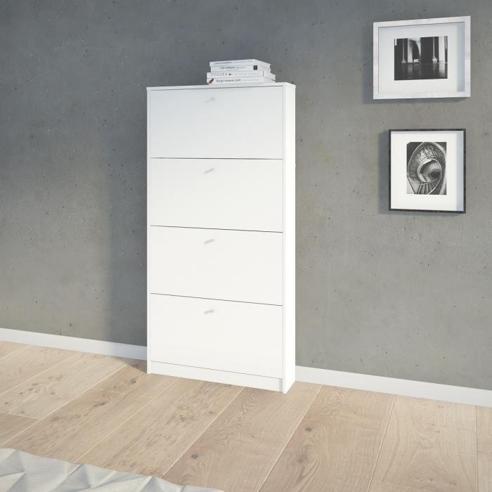 finlandek meuble a chaussures kuiva 75 cm blanc mat 440708. Black Bedroom Furniture Sets. Home Design Ideas