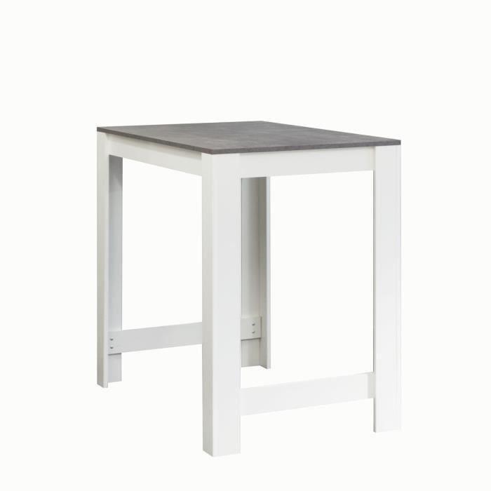 aucune curry table bar 110x70 cm blanc et decor beton 318181. Black Bedroom Furniture Sets. Home Design Ideas