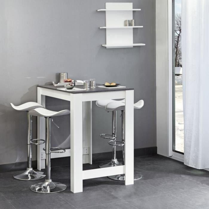 Aucune curry table bar 110x70 cm blanc et decor beton for Meuble bar comptoir