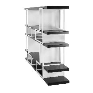 bibliotheque modulable style contemporain en metal et mdf laque brillant blanc et noir l 172. Black Bedroom Furniture Sets. Home Design Ideas