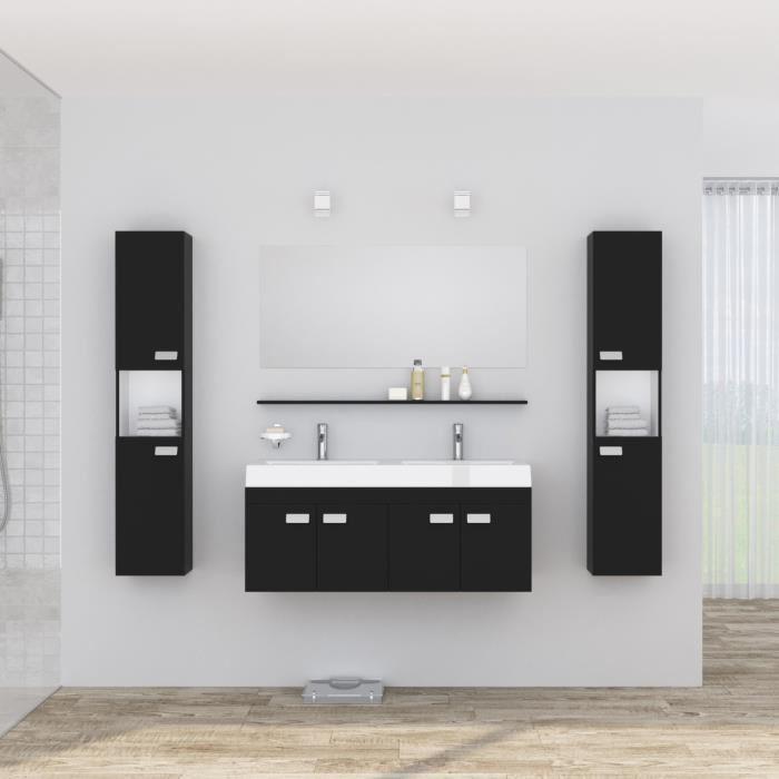 alpos salle de bain complete double vasque 120 cm laqu noir brillant 355337. Black Bedroom Furniture Sets. Home Design Ideas