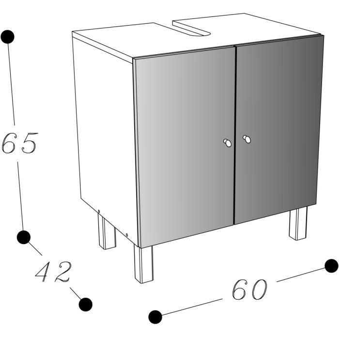 Aucune corail meuble sous lavabo 60 cm aubergine 250891 - Meuble sous lavabo 60 cm ...
