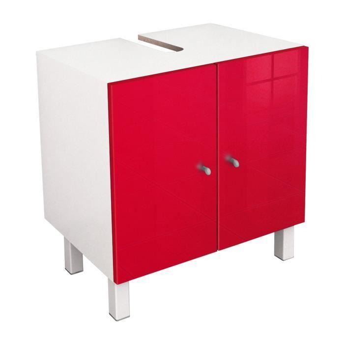 aucune corail meuble sous lavabo l 60 cm rouge haute brillance 493456. Black Bedroom Furniture Sets. Home Design Ideas