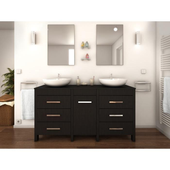 aucune era ensemble double vasque 150 cm bois essen noir 264272. Black Bedroom Furniture Sets. Home Design Ideas