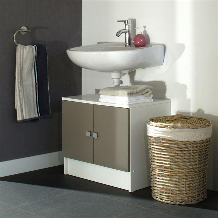 Aucune galet meuble sous lavabo 60 cm blanc et taupe 300547 for Meuble lavabo toilette