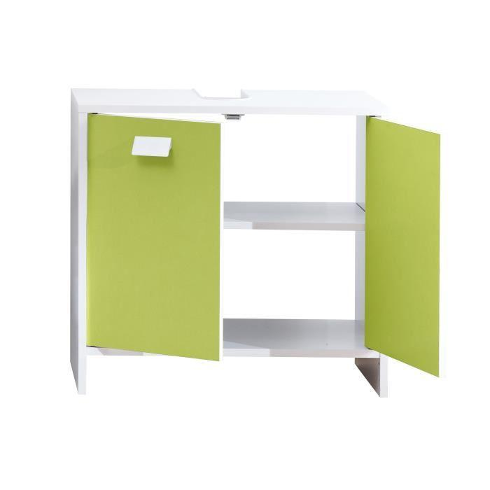aucune top meuble sous vasque 60 cm blanc et vert 380488. Black Bedroom Furniture Sets. Home Design Ideas