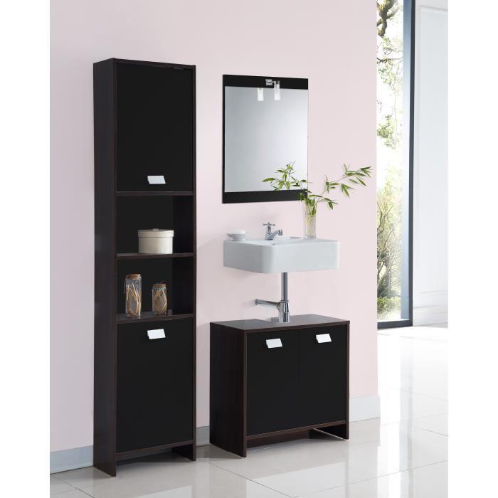 Aucune top meuble sous vasque 60 cm weng et noir 380486 - Meuble sous vasque wenge ...