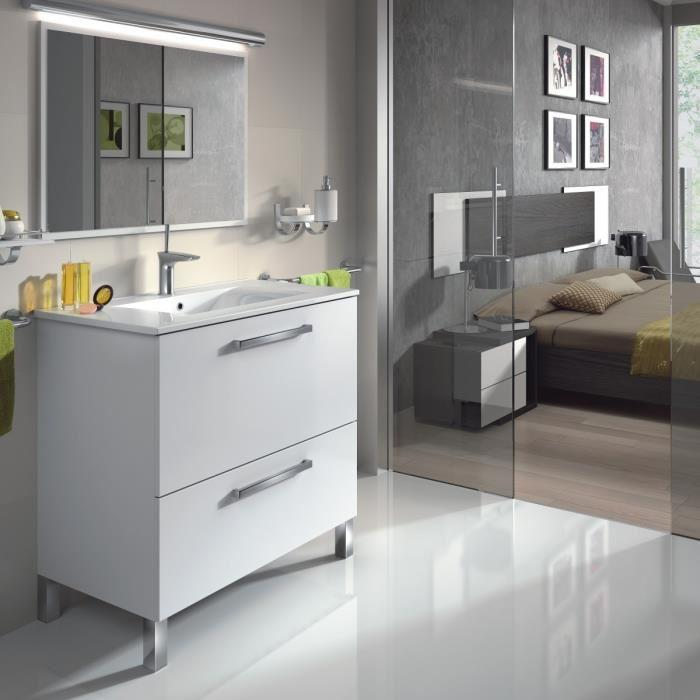 aucune urban meuble salle de bain complet blanc brillant 241897. Black Bedroom Furniture Sets. Home Design Ideas