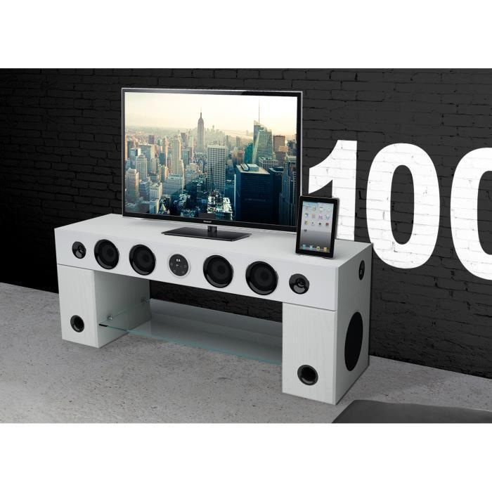 Meuble Tv Chaine Hifi Integree Sound Vision - SoundVision SoundStand100 Meuble  TV HiFi Bluetooth Blanc