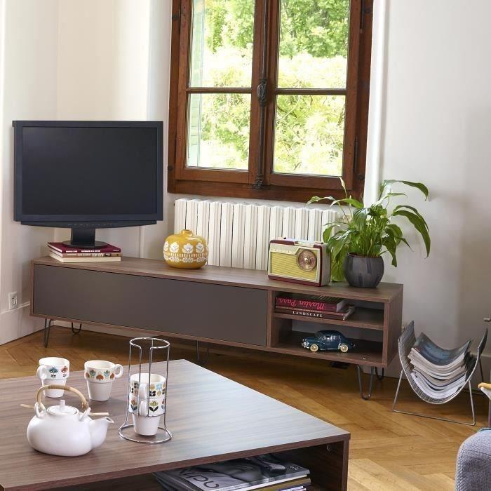 aero meuble tv vintage 165x40 cm decor noyer et gris anthracite 431202. Black Bedroom Furniture Sets. Home Design Ideas