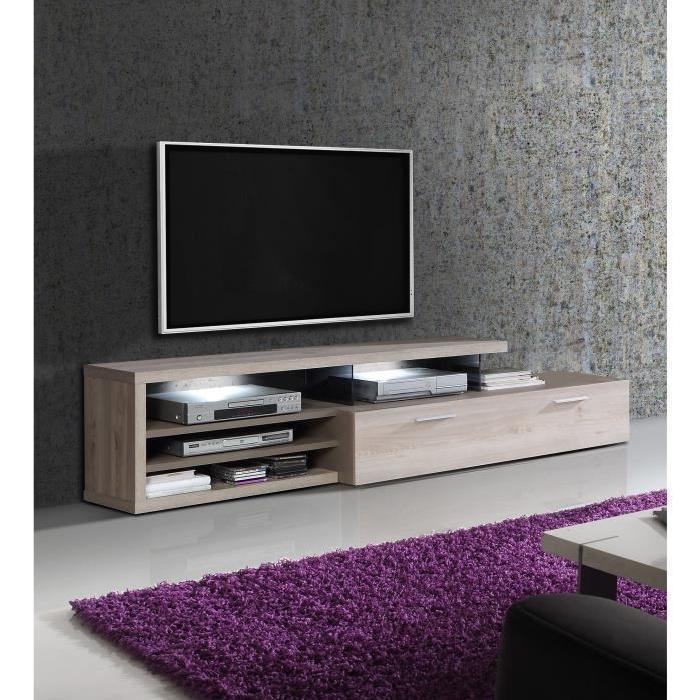 ajaccio meuble tv led romantique decor chene et decor cacao supermat l 217 cm 571868. Black Bedroom Furniture Sets. Home Design Ideas