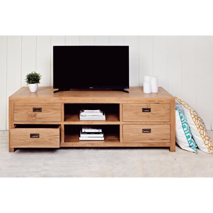ankor meuble tv scandinave en teck massif bois naturel l 150 cm 607680. Black Bedroom Furniture Sets. Home Design Ideas