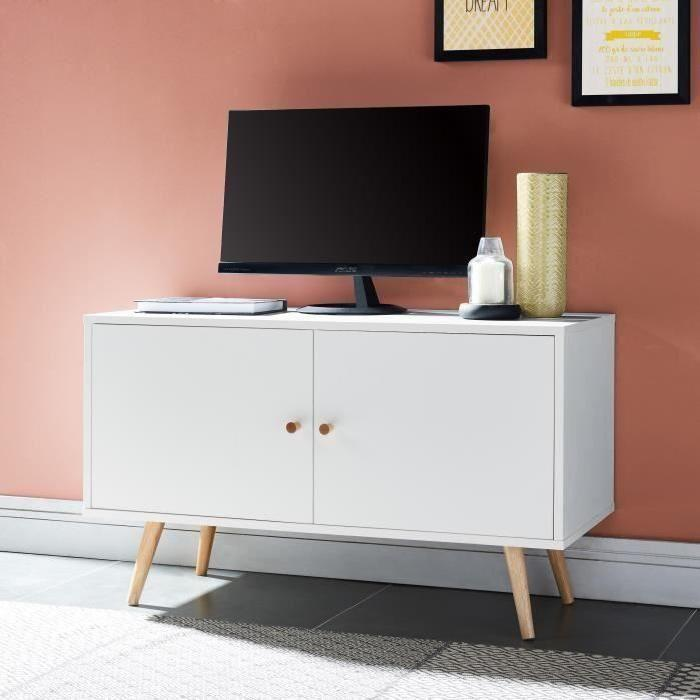 annette meuble tv scandinave d cor blanc pieds en bois massif l 90 cm 600746. Black Bedroom Furniture Sets. Home Design Ideas