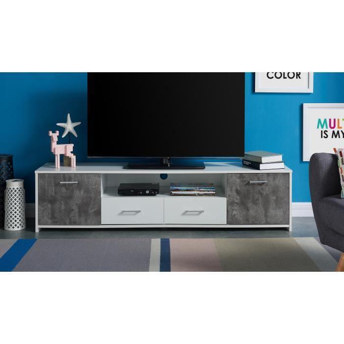 Aucune arsene meuble tv 161 cm blanc et effet b ton 380490 for Meuble tv effet beton