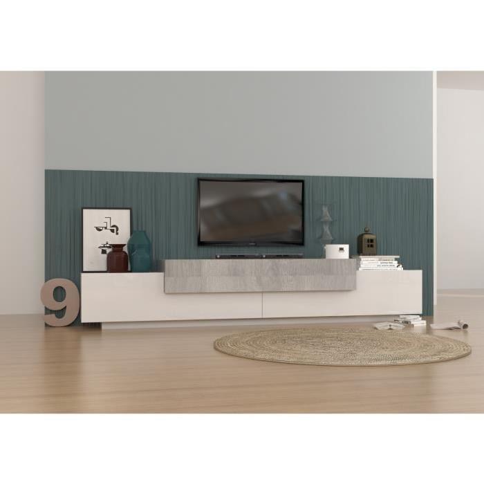 asia meuble tv contemporain laque blanc et decor gris. Black Bedroom Furniture Sets. Home Design Ideas