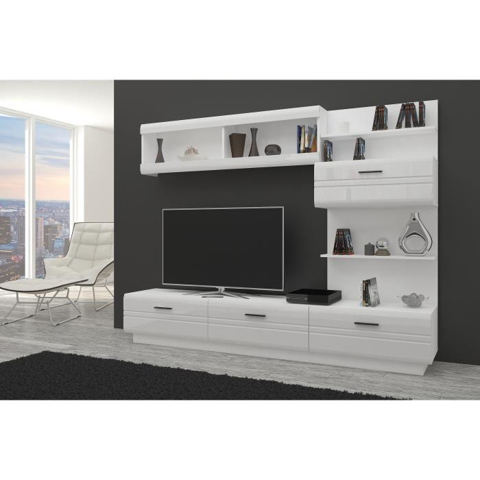 aucune axel meuble tv contemporain melamine blanc l 225 cm 607674. Black Bedroom Furniture Sets. Home Design Ideas