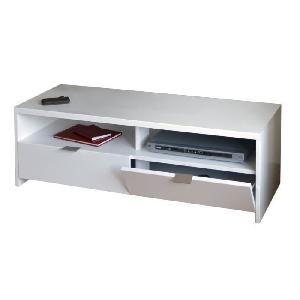 Aucune banco banc tv 110 cm blanc haute brillance 265734 for Meuble tv 110 cm blanc