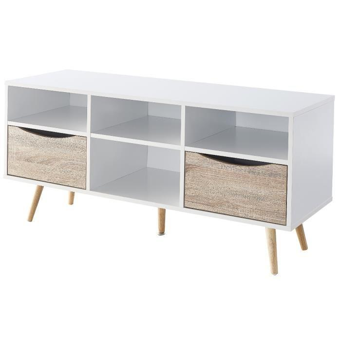 bela meuble tv scandinave blanc et decor chene mat pieds en bois hevea l 116 cm 607676. Black Bedroom Furniture Sets. Home Design Ideas