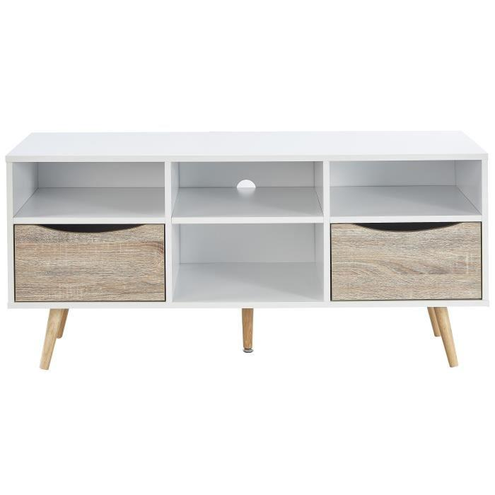bela meuble tv scandinave blanc et d cor chene mat pieds en bois h v a l 116 cm 607676. Black Bedroom Furniture Sets. Home Design Ideas