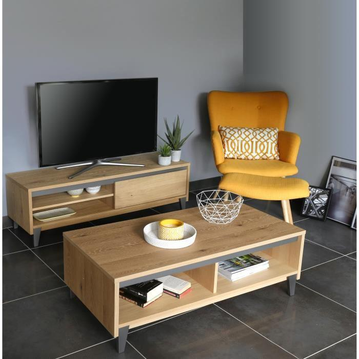 Aucune bricklane meuble tv 140 cm plaqu chene blanchi - Meuble tv chene blanchi ...