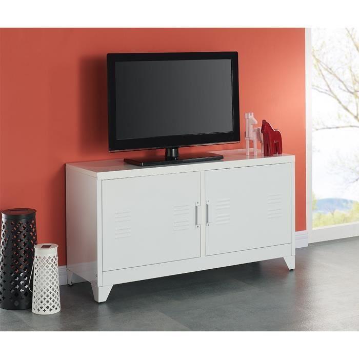 aucune camden meuble tv 119 cm blanc laque 336926. Black Bedroom Furniture Sets. Home Design Ideas