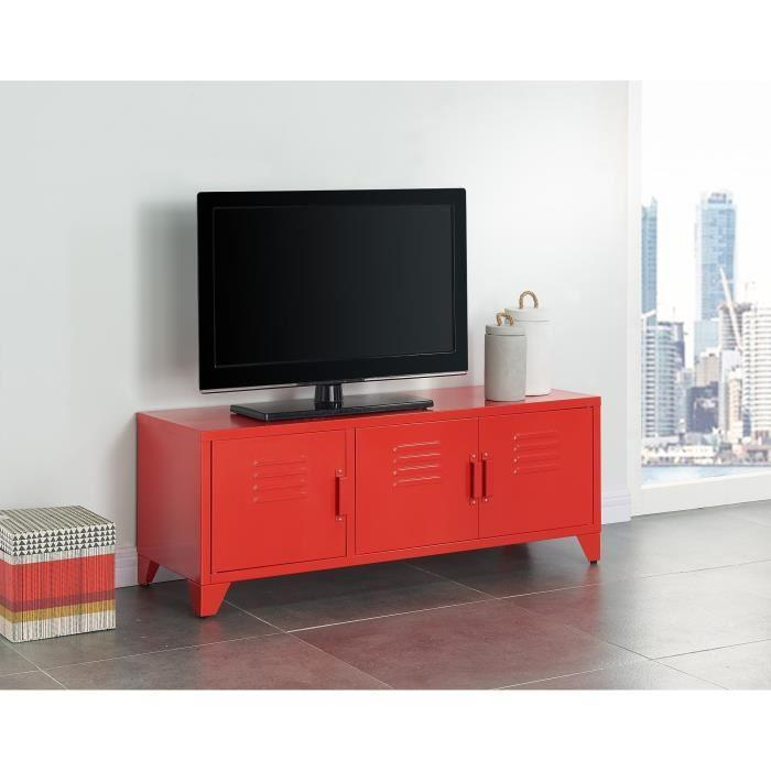 aucune camden meuble tv en metal 120 cm rouge laque 337048. Black Bedroom Furniture Sets. Home Design Ideas