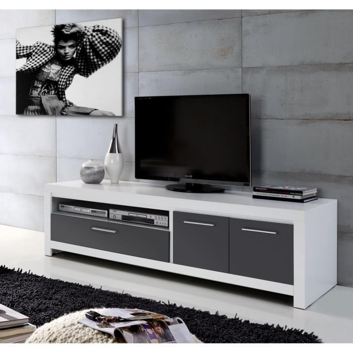 Aucune cross meuble tv 175cm blanc et gris 277537 for Meuble tv et hifi