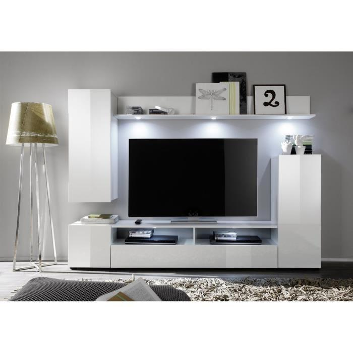 aucune dos meuble tv mural avec eclairage led 208cm blanc brillant 301778. Black Bedroom Furniture Sets. Home Design Ideas