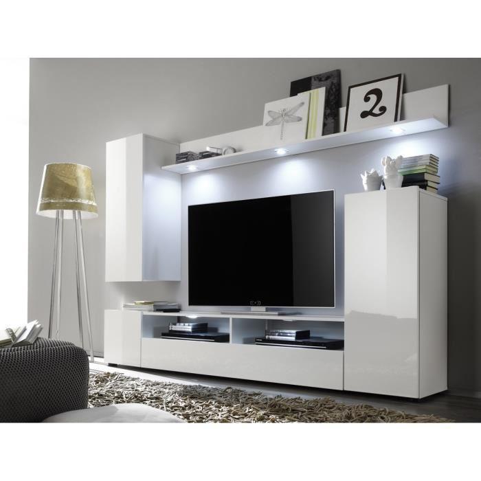 Aucune dos meuble tv mural avec eclairage led 208cm for Meuble tv hifi blanc