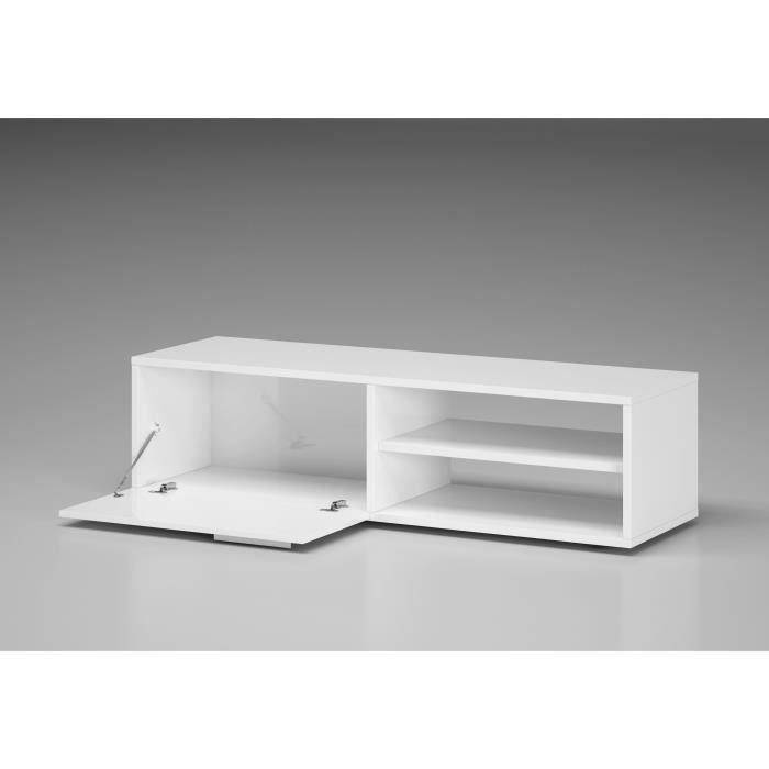 Aucune ensemble meuble tv 130 cm blanc brillant tv for Kikua meuble tv 130 cm blanc brillant