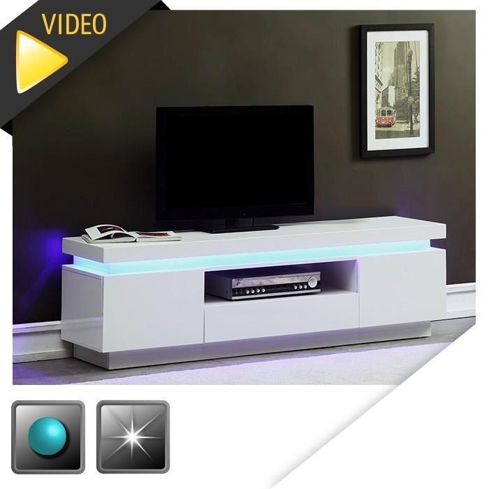 Aucune flash meuble tv 165cm blanc laque avec led bleue 285326 - Meuble tv hifi blanc laque ...