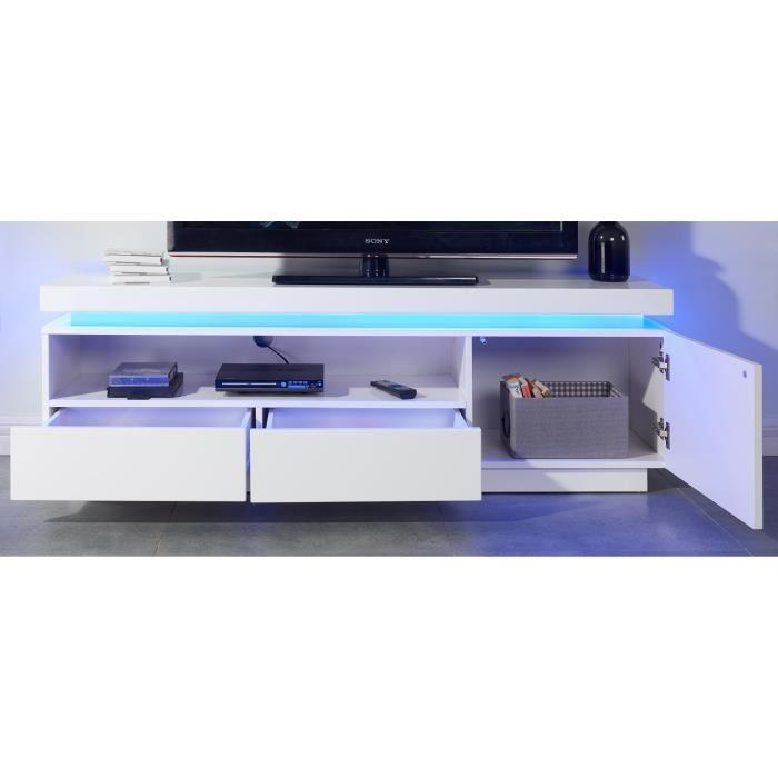 aucune flash meuble tv avec led bleu 150 cm laque blanc brillant 405271. Black Bedroom Furniture Sets. Home Design Ideas