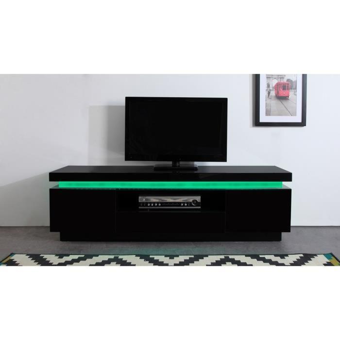 aucune flash meuble tv laque noir 165cm avec leds. Black Bedroom Furniture Sets. Home Design Ideas