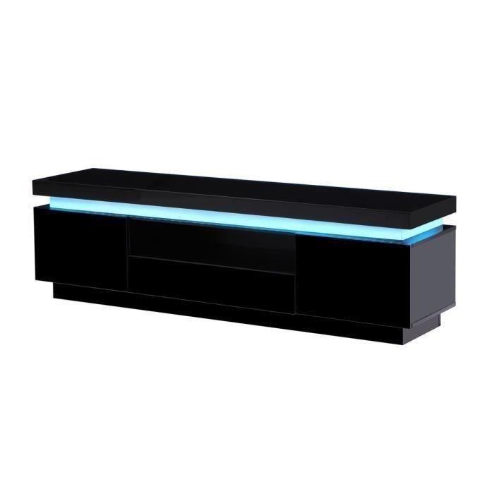 Aucune  FLASH Meuble TV laqué noir 165cm avec leds multicolores 300754 -> Meuble Tv Noir Laqué