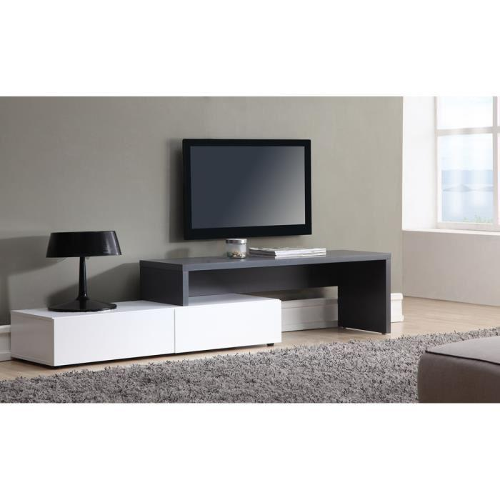 aucune floyd meuble tv extensible 120 a 233 cm blanc et gris 320474. Black Bedroom Furniture Sets. Home Design Ideas
