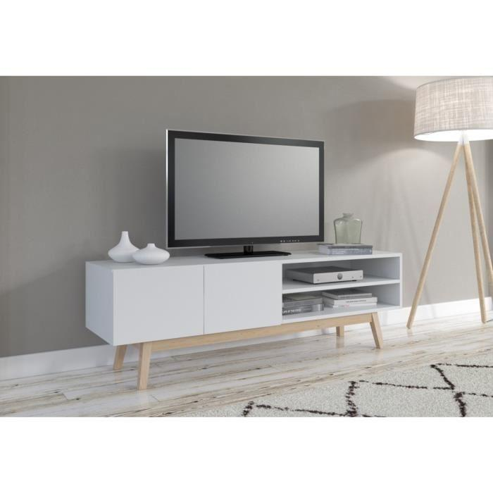 aucune burrata meuble tv 130cm laqu blanc 293185. Black Bedroom Furniture Sets. Home Design Ideas