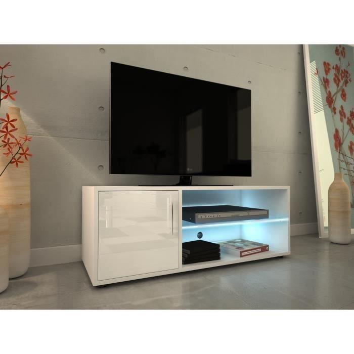 aucune kora meuble tv 100 cm avec eclairage led laque blanc 429740. Black Bedroom Furniture Sets. Home Design Ideas