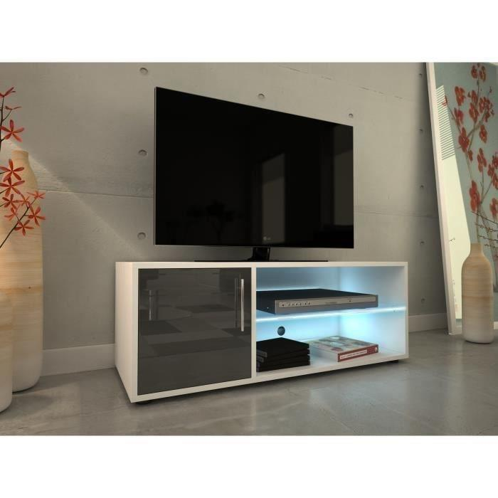 aucune kora meuble tv 100 cm avec eclairage led laque gris 430061. Black Bedroom Furniture Sets. Home Design Ideas
