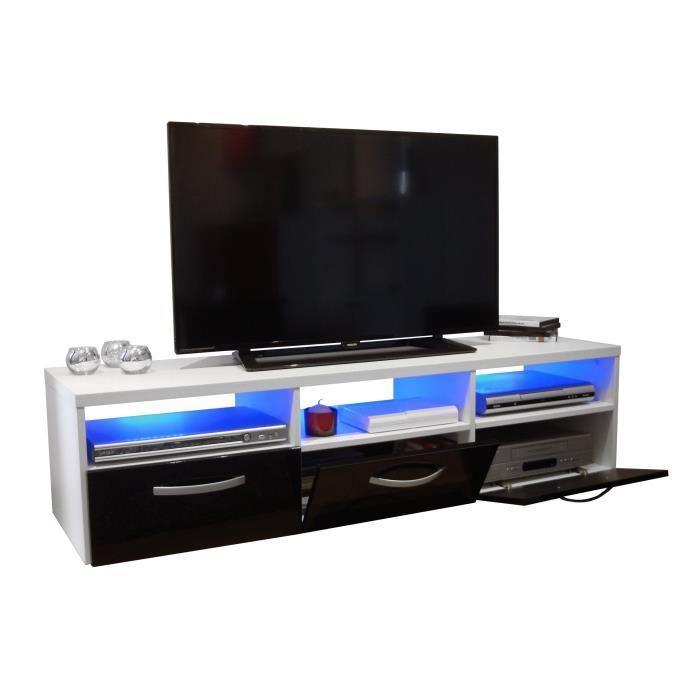 KOSMO Meuble TV avec éclairage LED 145 cm - Noir haute ...