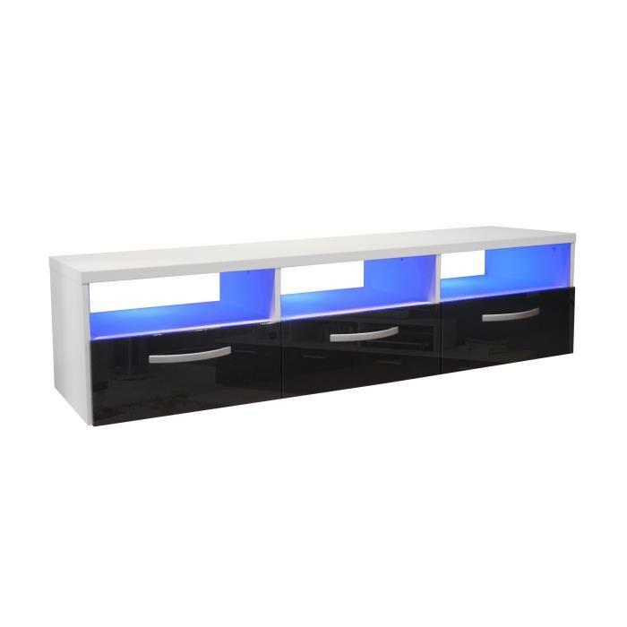 kosmo meuble tv avec eclairage led 145 cm noir haute. Black Bedroom Furniture Sets. Home Design Ideas