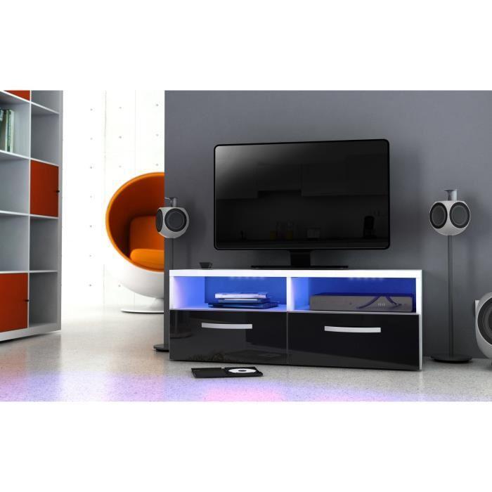 Kosmo meuble tv avec eclairage led 97 cm noir haute for Meuble tv haut noir