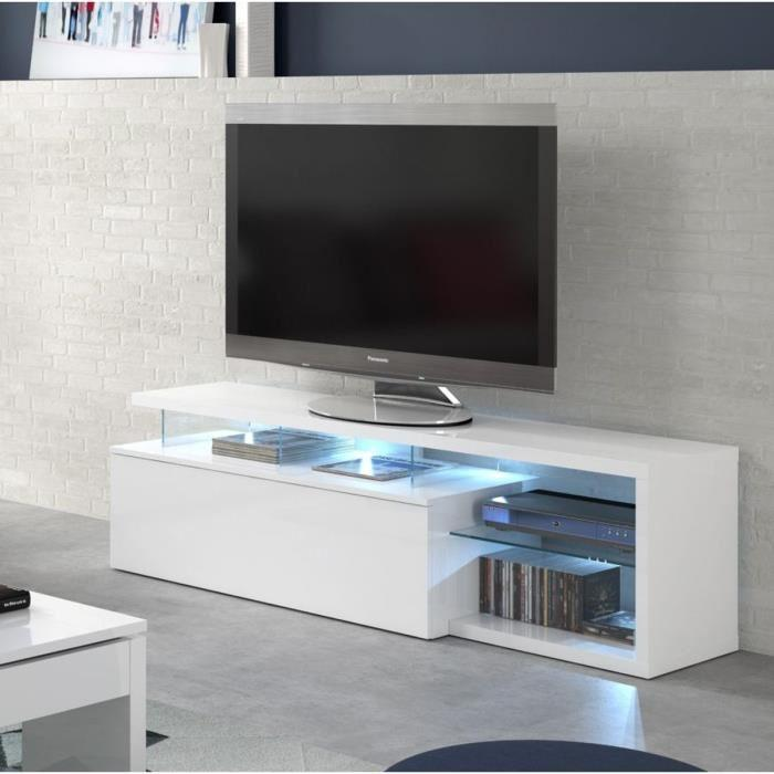 aucune ledd meuble tv 150 cm avec rangements et tablettes en verre 287684. Black Bedroom Furniture Sets. Home Design Ideas