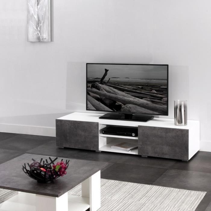 aucune lime meuble tv 140 cm blanc et decor beton 316230. Black Bedroom Furniture Sets. Home Design Ideas