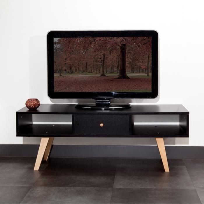 lund meuble tv scandinave m lamin noir mat pieds en hetre massif l 117 cm 461220. Black Bedroom Furniture Sets. Home Design Ideas