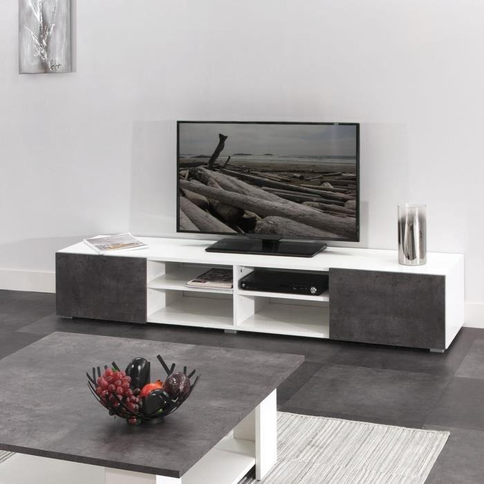 aucune meuble tv 185 cm blanc et decor beton 336468. Black Bedroom Furniture Sets. Home Design Ideas