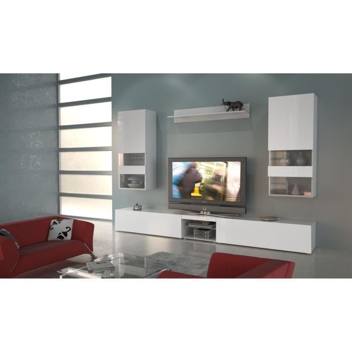 Aucune neverland meuble tv mural laque blanc comprenant for Element mural pour tv