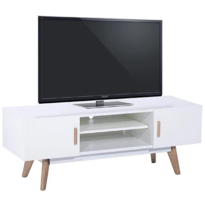aucune aura meuble tv 155cm avec 1 niche blanc 265726. Black Bedroom Furniture Sets. Home Design Ideas