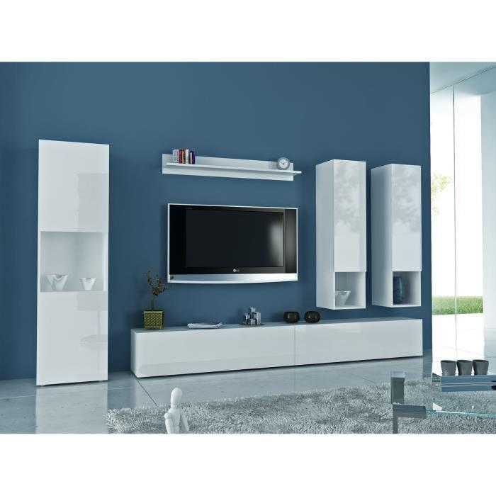 Quest meuble tv mural 300cm laque blanc comprenant 6 for Element mural tv