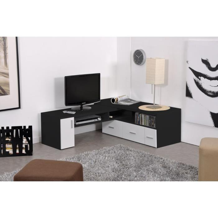 aucune slide meuble tv extensible 111 189 cm blanc et noir 312639. Black Bedroom Furniture Sets. Home Design Ideas