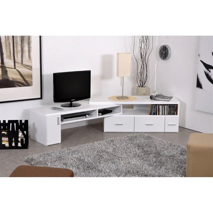 Aucune slide meuble tv extensible blanc 265740 for Meuble tv hifi blanc